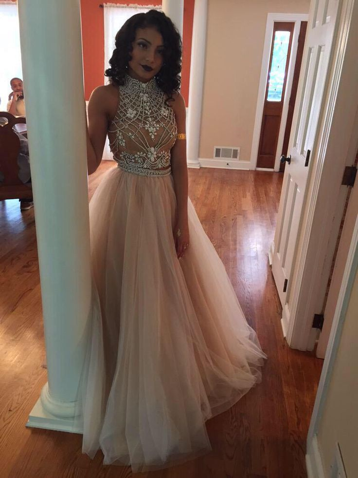 5fe516ec7cf High Neck Beaded Top Long Tulle Prom Dress