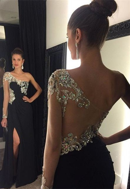 Gorgeous One Sleeve Long Prom Dressblack Prom Dressbeaded Prom