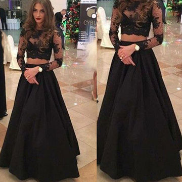 3f4ace1275 Black Long Sleeves A-line Lace Two Pieces Prom Dresses 2017 on Luulla