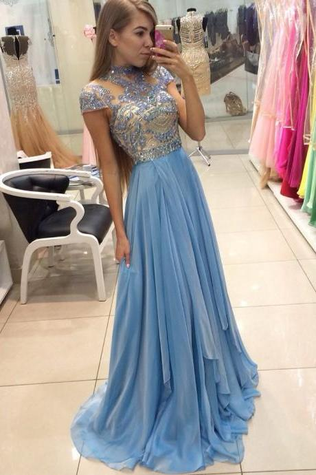 Sheer Cap-Sleeved Beaded A-line Chiffon Long Prom Dress, Evening Dress, Pageant Dress