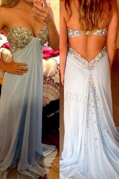 Strapless Sweetheart Beaded A-line Long Prom Dress, Evening Dress Featuring Open Back