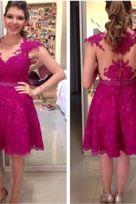 Elegant Fuchsia Prom Dresses Lace Cap Sleeve Beading Belt Fashion Women Party Gown