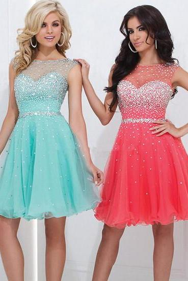Sleeveless Sheer Beaded A-line Short Homecoming Dress, Cocktail Dress, Party Dress