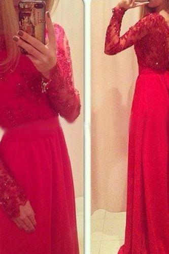 Red Prom Dress, Long Sleeve Prom Dress, Formal Prom Dress, Chiffon Prom Dress, Pretty Prom Dress, Occasion Dress, Long Prom Dress
