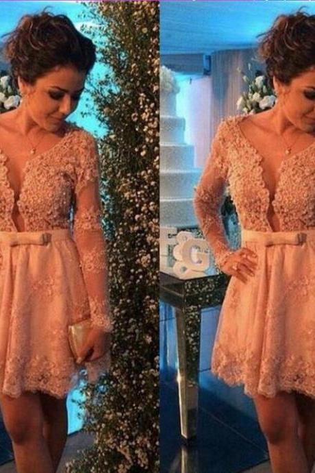 Long sleeve lace homecoming dress, Sexy lace homecoming dress, short homecoming dresses, 2016 homecoming dress, short prom dresses