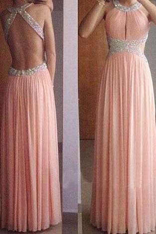 Halter Beaded Ruched Chiffon A-line Floor-Length Prom Dress, Evening Dress Featuring Open Back