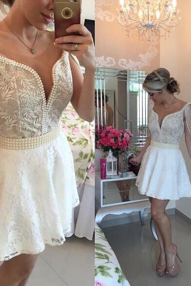 backless homecoming dress, Sexy lace homecoming dress, short white homecoming dresses, 2016 homecoming dress, short prom dresses