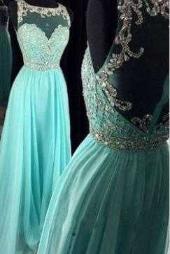 Sleeveless Sheer Beaded A-line Long Prom Dress, Evening Dress Featuring Sheer Back