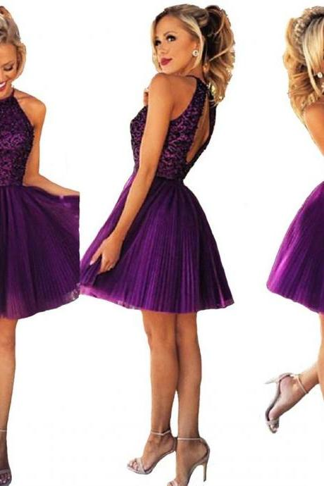 Halter Beaded Pleated Short Prom Dress, Homecoming Dress, Cocktail Dress, Party Dress