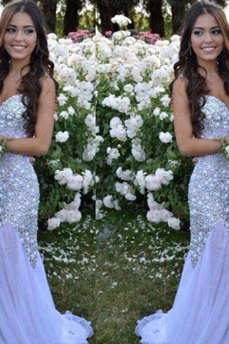Beaded Embellished Sweetheart Satin Floor Length Trumpet Formal Dress, Prom Dress