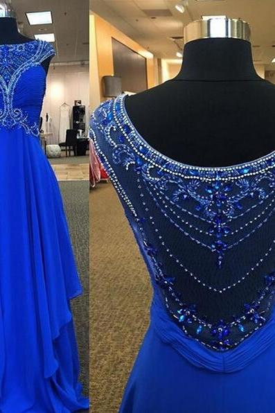 Blue Prom Dress, Gorgeous Prom Dress, Elegant Prom Dress, Popular Prom Dress, Unique Prom Dress, Chiffon Prom Dress