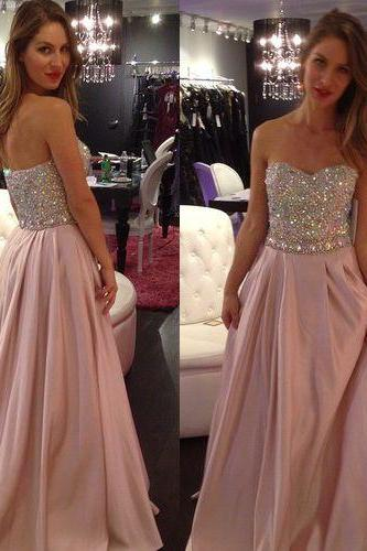Strapless Beaded Floor Length A Line Prom Dress,Long Evening Formal Dress,Party Dress