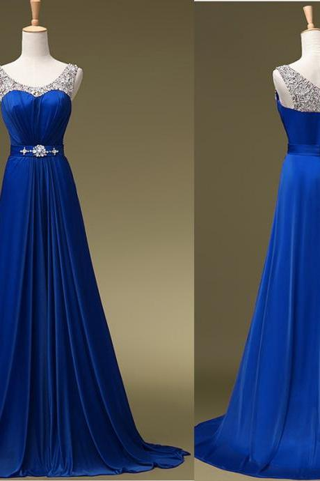 Beaded Embellished Scoop Neck Sleeveless Royal Blue Chiffon Floor Length A-Line Formal Dress, Prom Dress