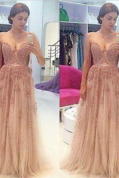 Sexy Crystal Detailing A-line Chiffon Prom Dresses 2017