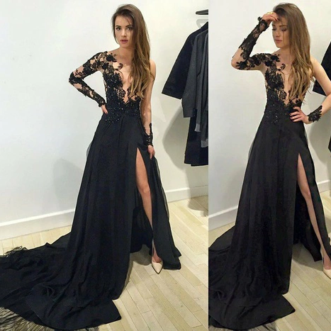 Prom Dresses,Evening Dress,Long sleeve prom dress,black lace long prom dress,evening dress,black prom dress,prom dress