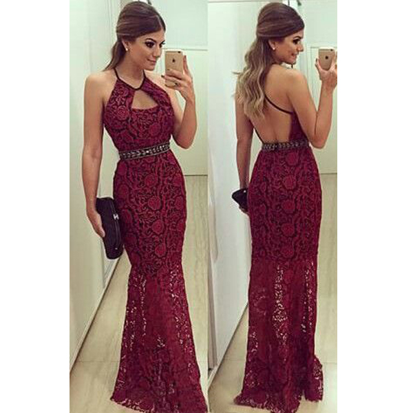 long prom dress, burgundy prom dress, lace prom dress, backless prom dress, long evening dress, prom dress ,Evening dresses, Prom Dresses,Long Prom Dress,