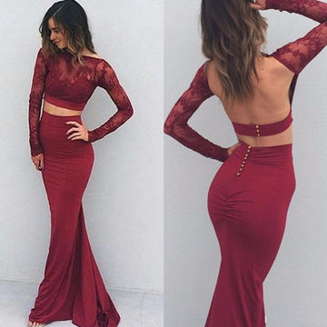 Red Long Sleeves Trumpet/Mermaid Stretch Satin Two Pieces Prom Dresses 2017