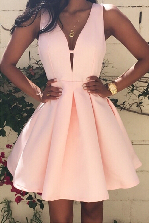Women Cute A Line Party Dress V Neck Short Prom Dresses With Zipper Back on  Luulla edc8be6947